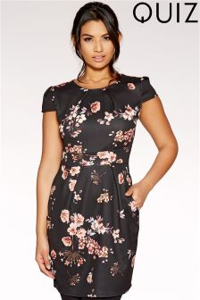 Quiz Cap Sleeve Floral Print Pencil Dress