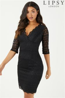 Lipsy 3/4 Sleeve All Over Lace Bodycon Dress