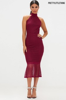 PrettyLittleThing Lace High Neck Midi Dress