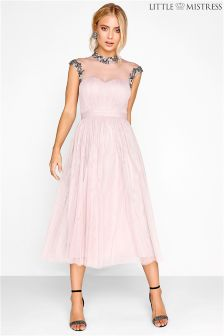 Little Mistress Embellished Mesh Bodice Midi Bridesmaid Dress