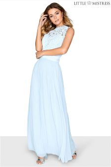 Little Mistress Lace Bodice Pleated Cross Over Waist Bridesmaid Maxi Dress