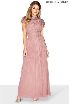 Little Mistress Embellished Statement Cap Sleeve Lace Bodice Bridesmaid Maxi Dress