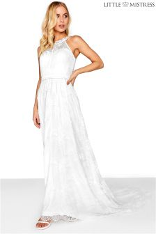 Little Mistress High Neck Lace Bridal Maxi Dress