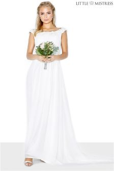Little Mistress Bardot Lace Bridal Maxi Dress