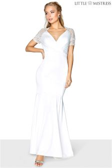 Little Mistress Lace Sleeve Wrap Front Bridal Maxi Dress