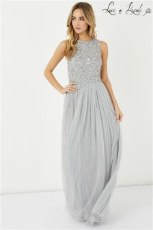 Lace & Beads Embellished Maxi Dress