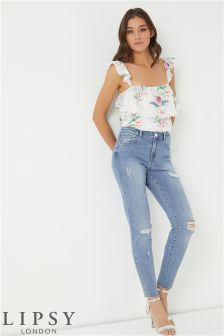 Зауженные джинсы с необработанным краем Lipsy