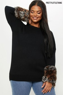 Pull PrettyLittleThing Curve avec manches à imprimé léopard