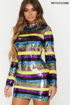 PrettyLittleThing Sequin Stripe Long Sleeve Bodycon Dress