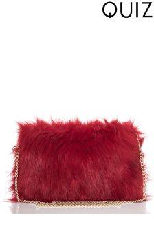 Quiz Faux Fur Square Bag