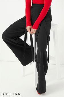 Lost Ink Fold Waist Wide Leg Trousers