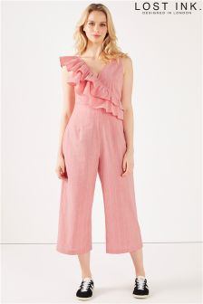 Lost Ink Frill Shoulder Tie Waist Jumpsuit
