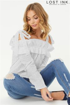 Lost Ink Broderie Bardot Blouse