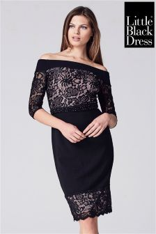 Little Black Dress Lace And Crepe Bardot Pencil Dress