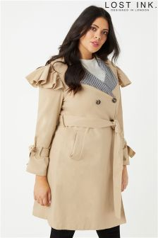 Lost Ink Plus Gingham Trench Coat
