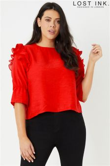 Lost Ink Plus Top With Pleated Trim Sleeves