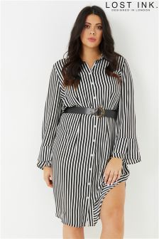Lost Ink Plus Shirt Dress In Stripe With Belt