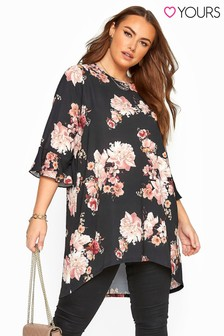 Yours Curve Floral Print Dipped Hem Tunic