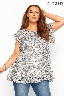 Yours Curve Polka Dot Frill Chiffon Blouse