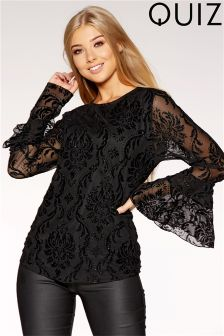 Quiz Lace Floral Frill Sleeve Top