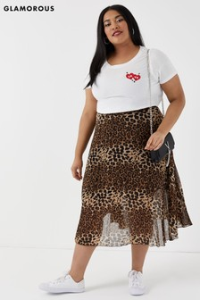 Glamorous Curve Animal Print High Waist Skirt