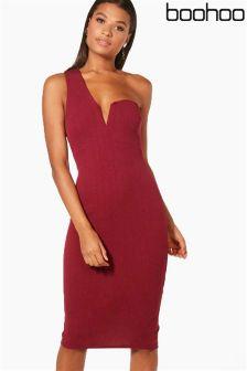 Boohoo One Shoulder Plunge Midi Dress