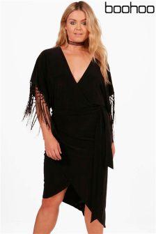 Boohoo Plus Fringe Trim Wrap Dress