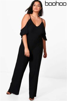 Boohoo Plus Crepe Ruffle Cold Shoulder Jumpsuit