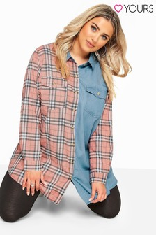 Yours Curve Mixed Check Denim Shirt