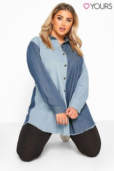 Bump It Up Blue Mixed Denim Shirt