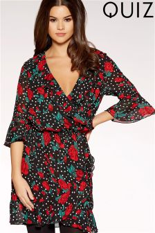 Quiz Polkadot Floral Wrap Dress