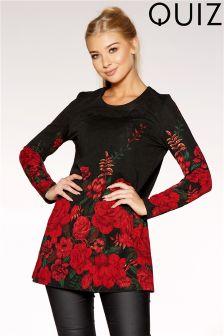 Quiz Floral Print Long Sleeves Tunic Dress