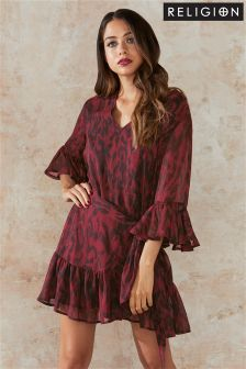 Religion Printed Wrap Dress