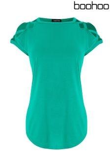 Boohoo Strappy Shoulder Detail T-Shirt