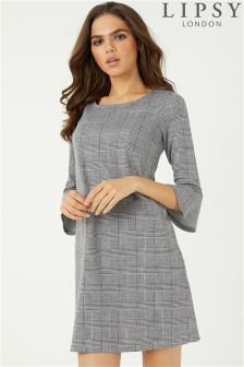 Lipsy Prince Of Wales Check Flute Sleeve Dress
