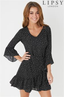 Lipsy Polka Dot Ruffle Wrap Dress