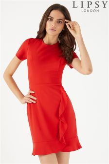 Lipsy Short Sleeve Ruffle Dress