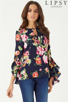 Lipsy Floral Print Fluted Sleeve Blouse
