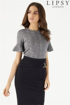 Lipsy Prince Of Wales Check Flute Sleeve Top