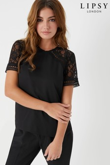 Lipsy Lace Yoke Short Sleeve Top