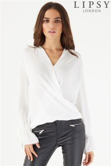 Lipsy Long Sleeve Wrap Blouse With Flute Sleeves