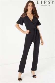 Lipsy Lace Insert Short Sleeve Jumpsuit