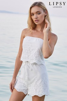 Lipsy Broderie Beach Playsuit