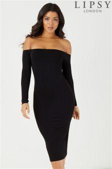 Lipsy Bardot Long Sleeve Midi Dress