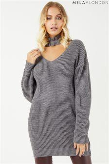 Mela London Ruffle Choker Knitted Dress