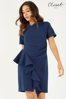 Closet Asymmetric Pleated Dress