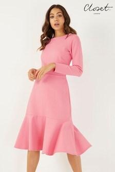 Closet Long Sleeve Pep-hem Dress
