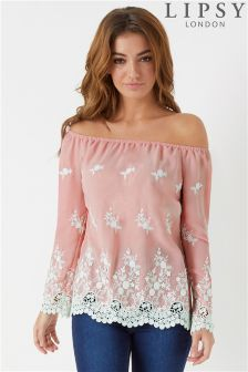 Lipsy 3D Embroided Bardot Top