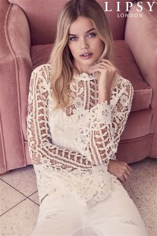 Lipsy High Neck Lace Blouse