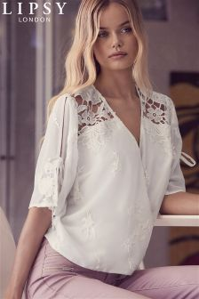 Lipsy Embroided Lace Wrap Top